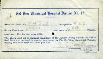 Red Deer Archives, K37; Red Deer Municipal Hospital District insurance receipt, 1924