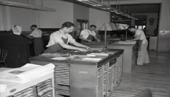 Red Deer Archives, N2205; Red Deer Advocate typesetters, 1954