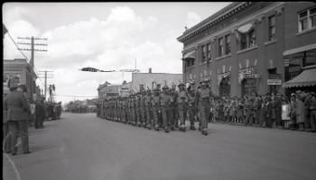 Red Deer Archives, N309; Victory Loan Parade on Gaetz Avenue, 1943