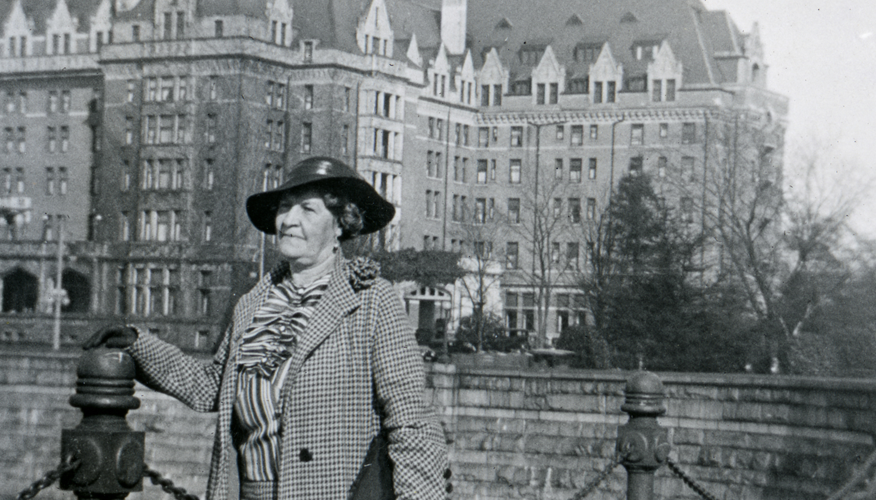 Florence Cottingham at the Fairmont Empress Hotel in Victoria, BC, ca. 1932