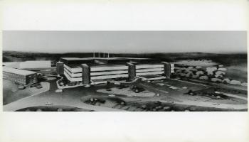 Red Deer Archives, P4048; Artist sketch of proposed Red Deer Regional Hospital, 1980