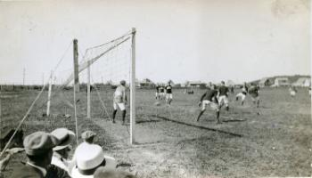 Red Deer Archives, P432; Playing football, 192?