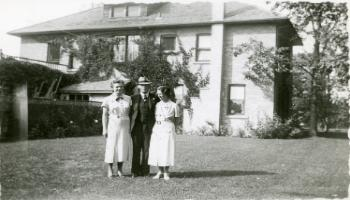 Red Deer Archives, P456; Dr. Richard Parsons with daughter Margo on left and second wife Annie, ca. 1940
