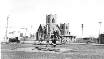 Red Deer Archives, P5686; Playground in front of Methodist Church, ca. 1945
