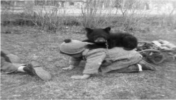 Red Deer Archives, P5688; Tommy with a bear cub, 1924