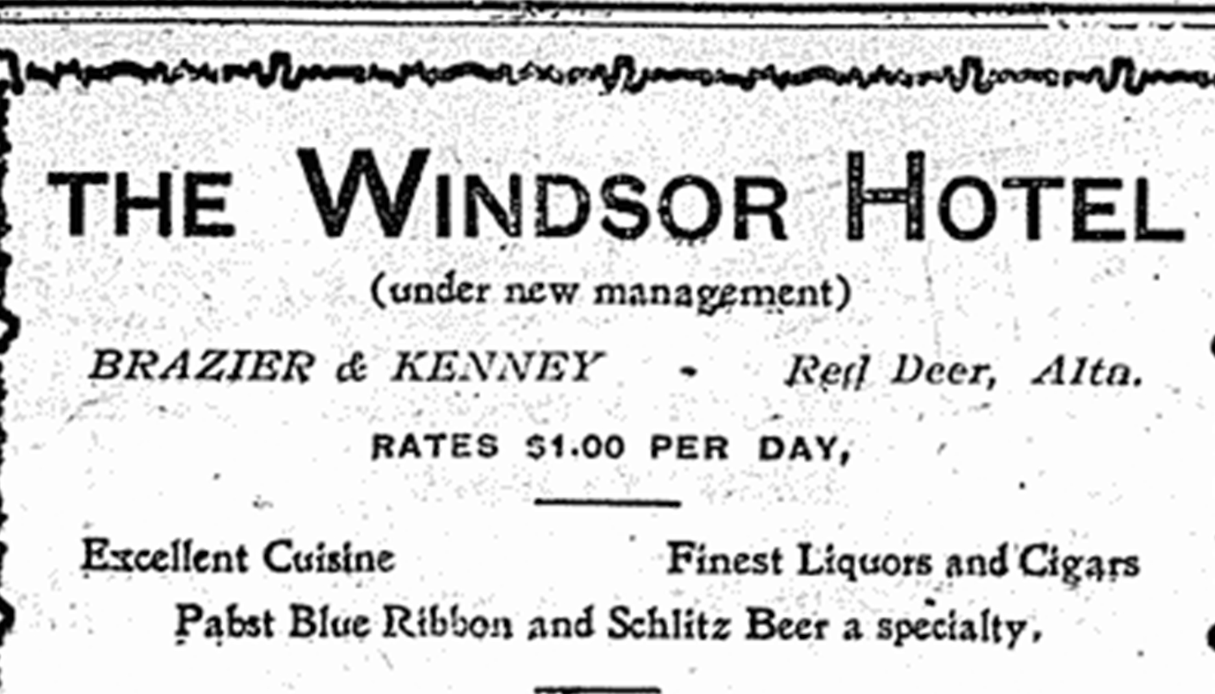 Advertisement for the Windsor Hotel in the Red Deer News, May 22, 1907