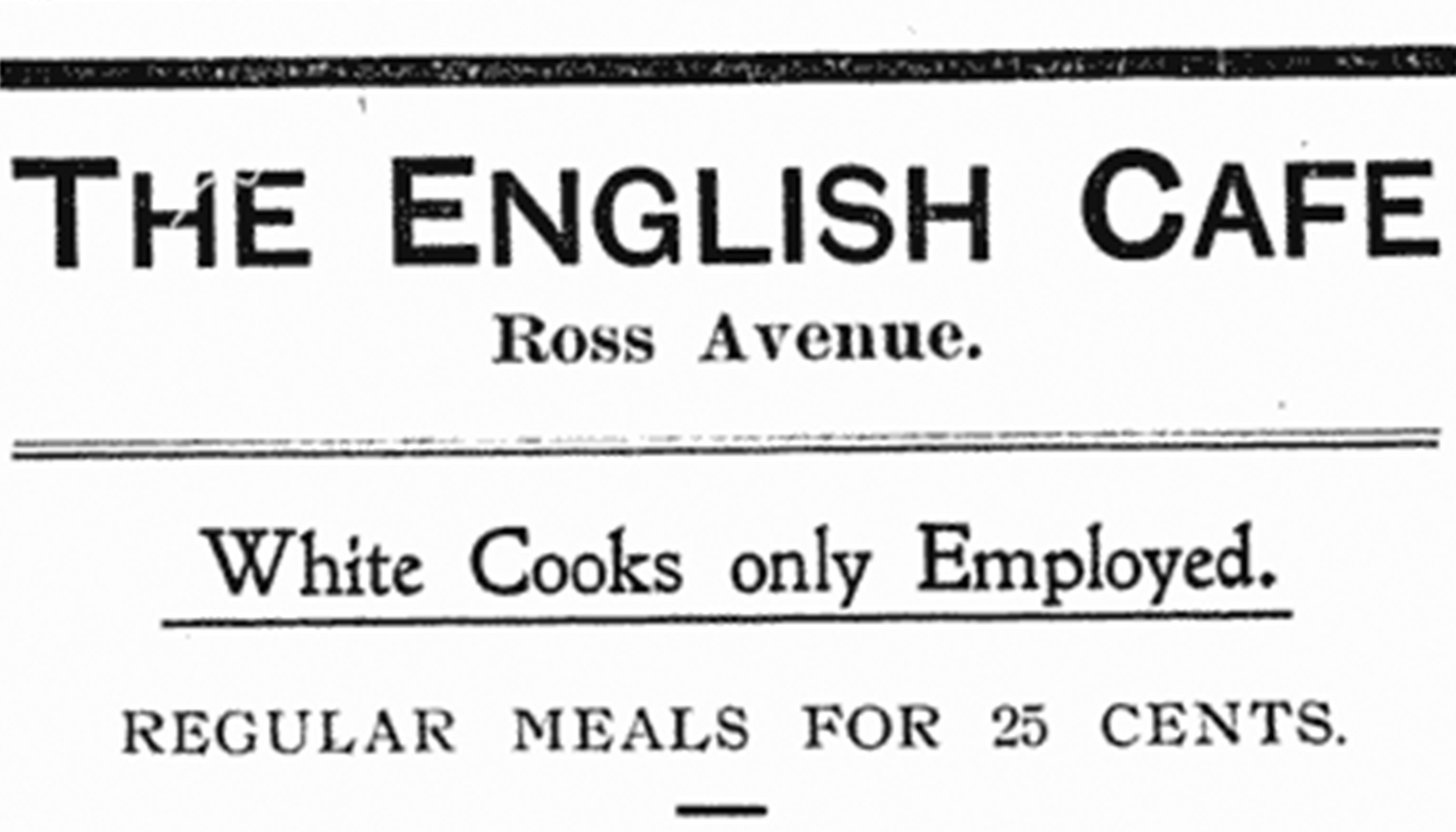 Advertisement for the English Café, Red Deer News, Feb. 24, 1909