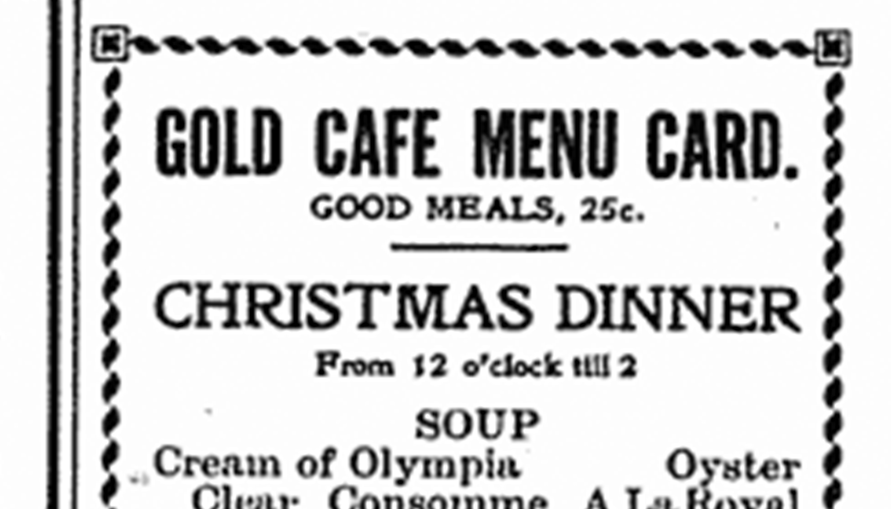 Advertisement for Gold Cage in Red Deer News, Dec. 21, 1910