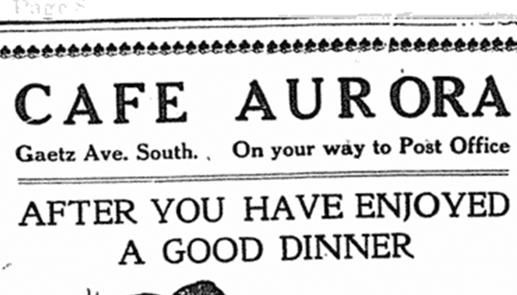 Advertisement for the Aurora Café in the Red Deer News, April 2, 1913