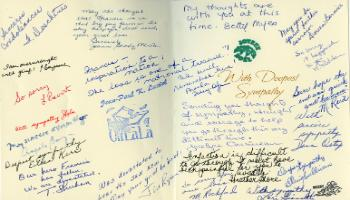Red Deer Archives, K3902; Sympathy card with signatures of staff at Wilder Penfield School in Quebec regarding the death of Francis the pig PAGE 2, 1991