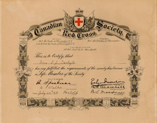 Red Deer Archives, K7785; Lifetime membership certificate for the Canadian Red Cross Society, issued to Mrs. T.J. Carlyle, Penhold, Alberta branch, July 25, 1918