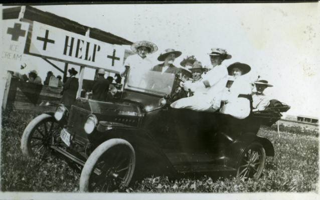 Red Deer Archives, P4831; Red Cross fundraising drive at Penhold, Alberta, 1916