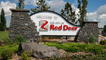 Welcome to Red Deer sign