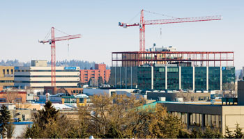 Photo of two construction cranes building in downtown Red Deer