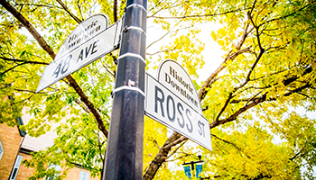 Ross and Gaetz signs Downtown tile