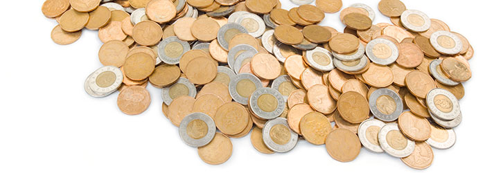 Loonies and Toonies on a white background