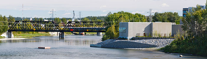 A panoramic view of the water treatment plant and Red Deer River