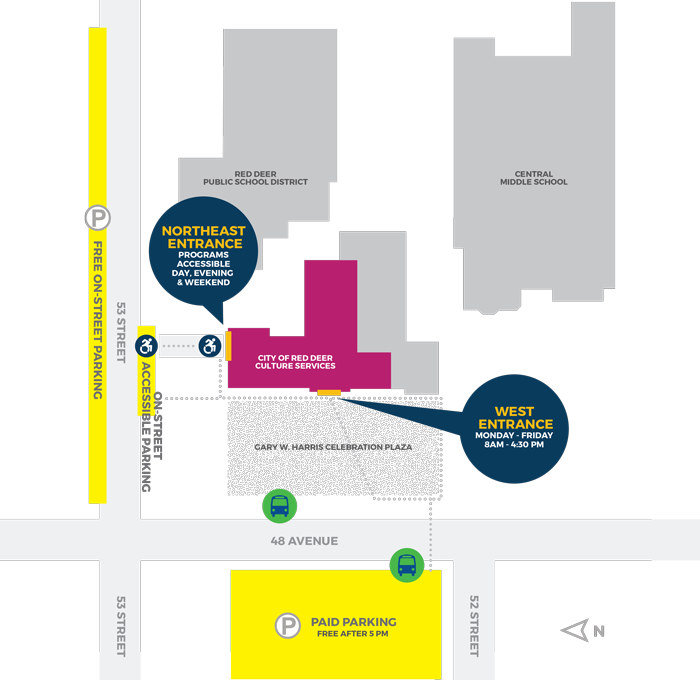 Map showing Culture Services building location including accessible entrance and parking