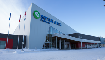 Photo of the outside of the Servus Arena