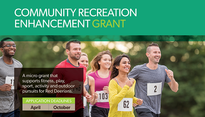 Image of a group of runners with information promoting the Community Recreation Enhancement Grant in boxes around the runners